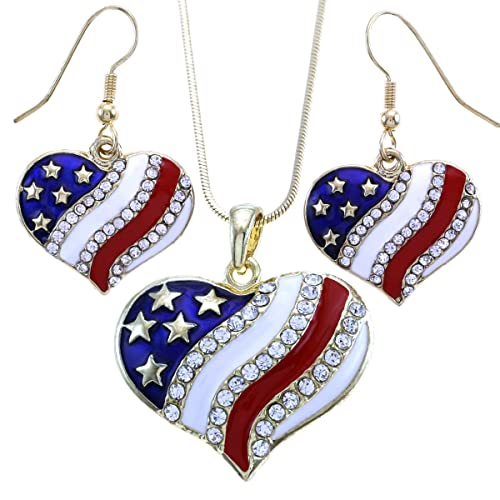 Amazon usa american flag heart patriotic 4th of july amazon usa american flag heart patriotic 4th of july independence day pendant necklace dangle earrings set dangle gld jewelry aloadofball Choice Image