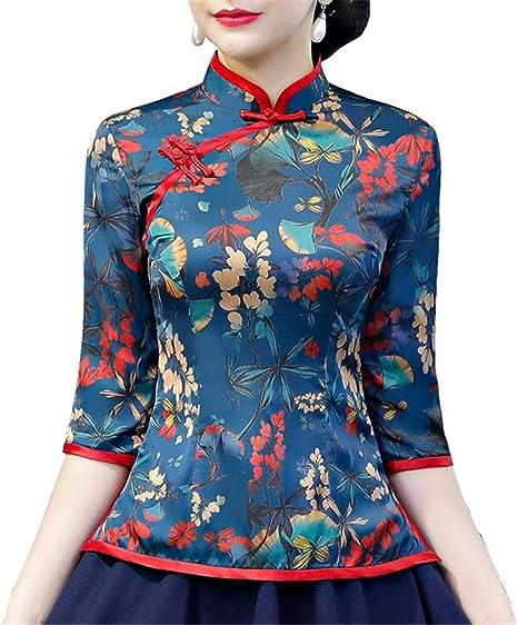 Auspiciousi Blusa de Las señoras de la Camisa Tradicional China de Cheongsam: Amazon.es: Ropa y accesorios