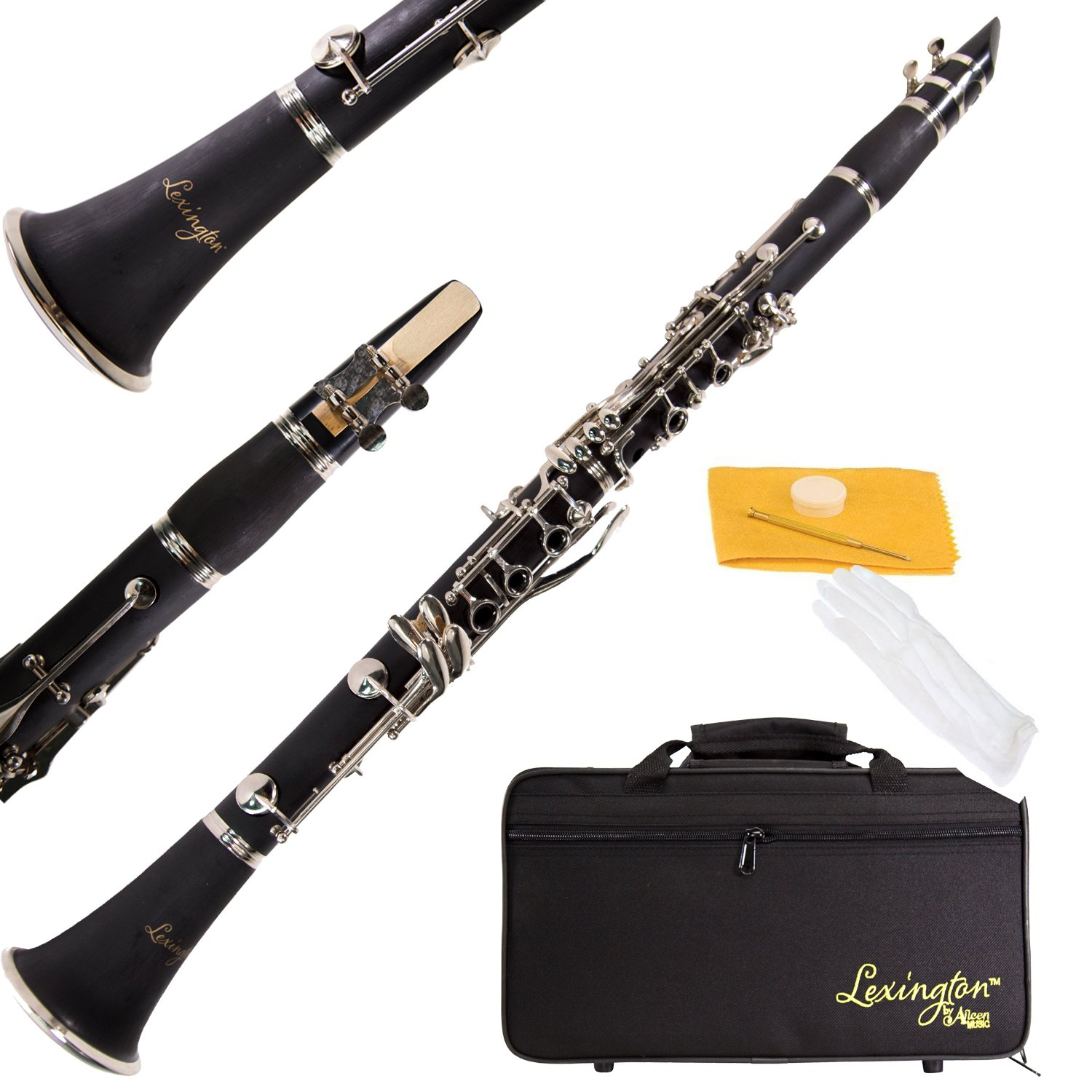 Aileen Lexington Bb Flat 17 Key Clarinet with Mouthpiece, Hard Case, Cork Grease, Gloves and Other Kit by Aileen