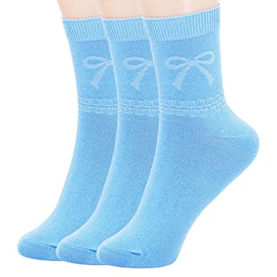 Womens Candy Colors Fashion bow Cotton Crew Socks (3 Pairs-Light Blue) at Women's Clothing store