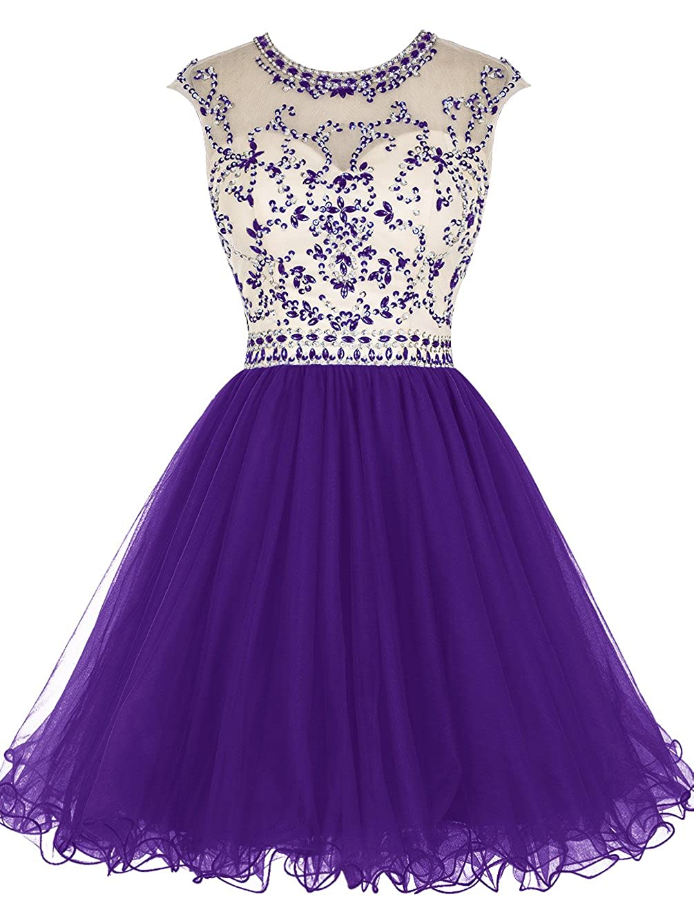 Dark Purple TideClothes Short Beading Homecoming Dresses Tulle Prom Cocktail Party Gowns