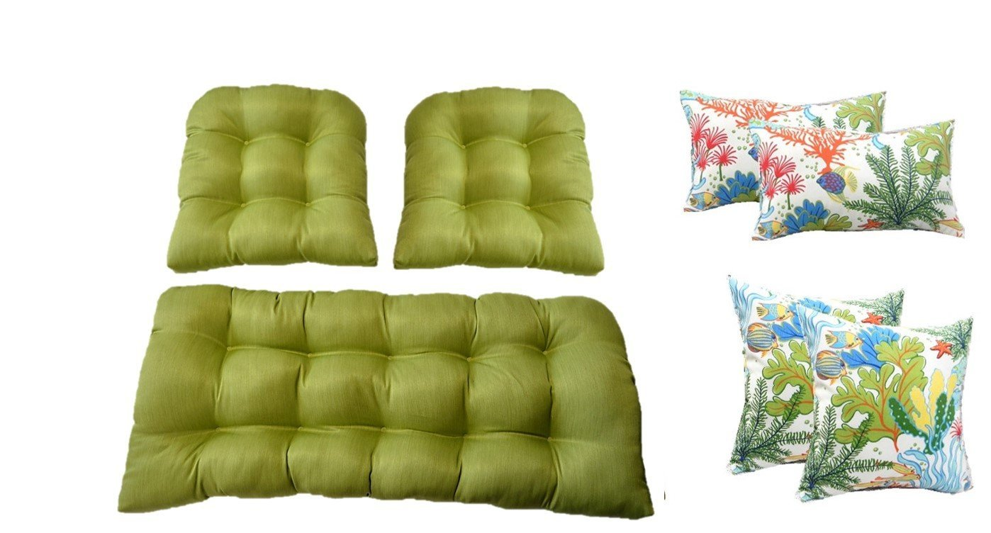 MojoキウイグリーンクッションウィッカーLoveseat Settee & 2の一致する椅子クッション+ 2 20