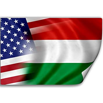 Sticker decal with flag of hungary and usa hungarian magyar