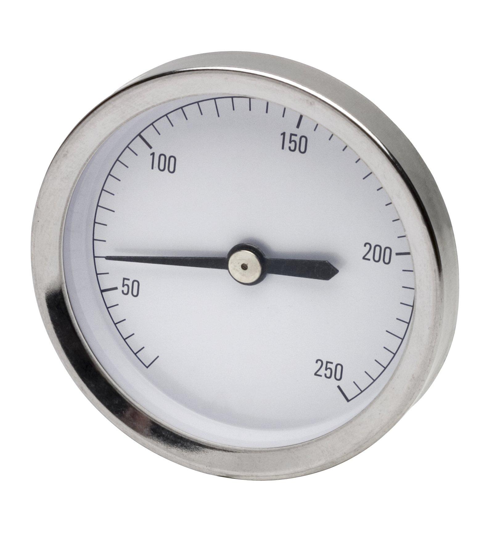 H-B DURAC Bi-Metallic Surface Temperature Thermometer; 25/250F, 64mm Dial, Single Thin Spring (B61320-1700)