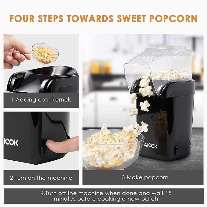 Amazon.com: Aicok Palomitas de maíz de aire caliente, 1.200 ...