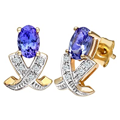 Naava Women's 9 ct Yellow Gold Tanzanite and Diamond Cluster Earrings reDLwhf9RH