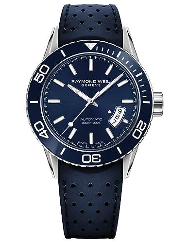 Raymond Weil Freelancer Swiss - Reloj Casual de Acero Inoxidable y Caucho, Color