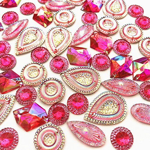 Remarkable Clear Pink AB Color Sew On Mixed Shape & Size Faceted Flat Back Crystals Rhinestones Handicrafts 50pcs