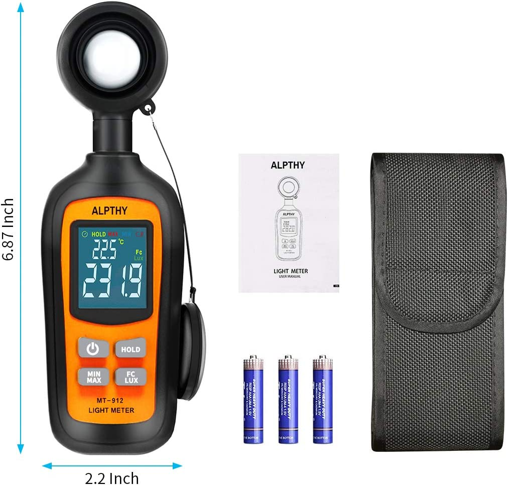 ALPTHY Light Meter Lux Meter Digital Illuminance Light Meter for Plants Handheld Ambient Temperature Measurer with Range up to 200,000 Lux,Color Back Light,MAX//MIN,Data Hold,Low Battery Indication