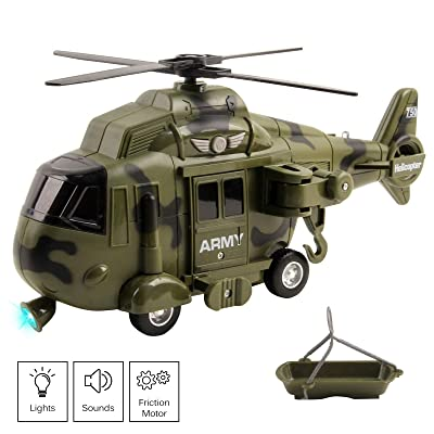 "Vokodo Military Helicopter 11"" With Lights Sounds Push And Go Includes Rescue Basket Durable Toy Friction Power Kids Army Soldier Chopper Pretend Play Truck Great Gift For Children Boys Girls Toddlers: Toys & Games"