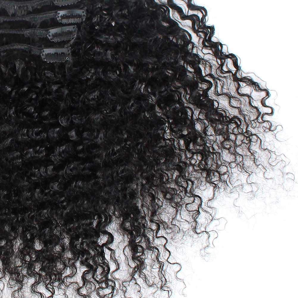 ZigZag Hair Afro Kinky Curly 3B 3C Clip in Hair Extensions for Black Women Peruvian Virgin Human Hair Clip Ins Natural Color (12inch, 3B 3C) by ZigZag Hair (Image #7)