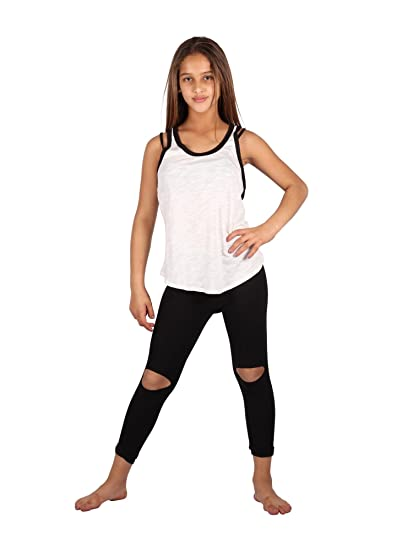 50c3b175ac589 Lori & Jane Big Girls Black White Sleeveless Tank Summer Leggings Outfit  Set 10