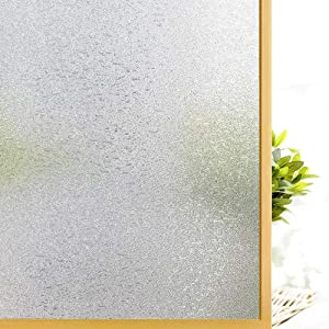 Coavas Privacy Window Film Crystal Pattern Glass Sticker for Home Office No Glue Static Anti-UV Window Paper Decorative Window Covering for Bathroom, 17.7 x 78.7 Inches