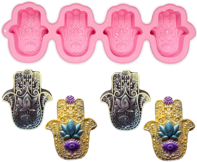 4 Cavities Hand of Fatima Silicone Mold Nonstick /& BPA Free Hamsa Silicone Soap Molds