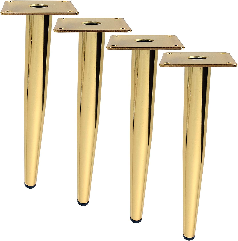 Abuff 12 inch Furniture Legs Coffee Table Legs 4-Pack, Brushed Gold Metal Home DIY Projects Sofa Leg TV Cabinet Leg, Chair Leg, Ottoman Leg