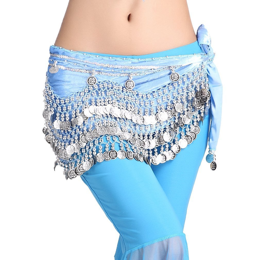 ZLTdream Women's Belly Dance Wave Shape Hip Scarf With Silver Coins FM6122
