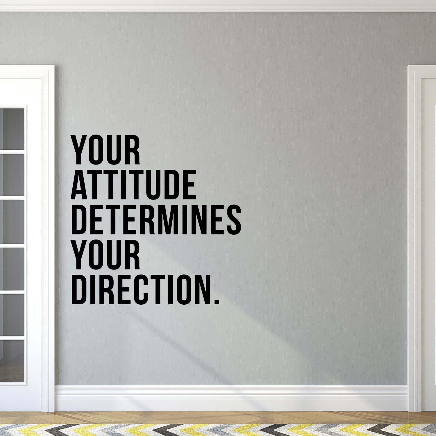 """Vinyl Art Wall Decal - Your Attitude Determines Your Direction - 23"""" x 23"""" - Trendy Motivational Positive Quote Sticker for Living Room Kids Room Playroom Office Work Gym Fitness Decor (Black)"""