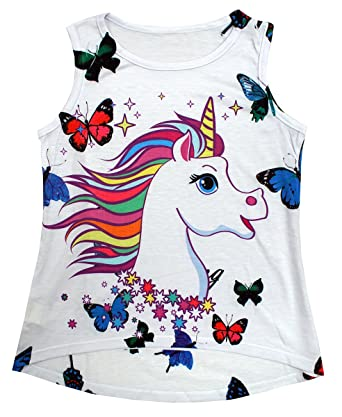 Girls Unicorn Rainbow Horse Butterfly Sleeveless Fashion Vest Top 2 to 12 Years