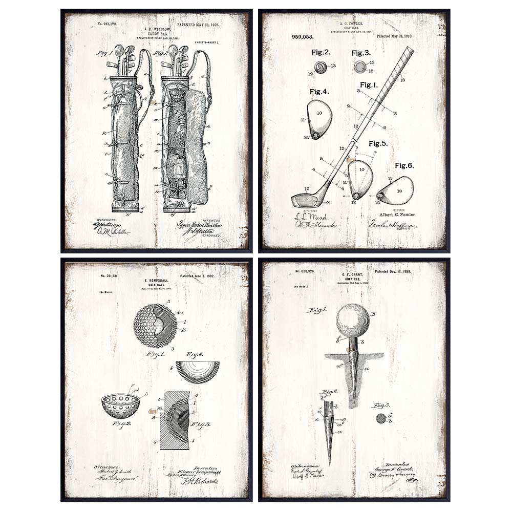 Golf Balls, Clubs, Tees, Bags Patent Print Wall Art - Rustic Room Decor for Office, Man Cave, Den, Living Room - Gift for Men, Teens, Guys, Golfing Sports Fan, Golfer - Faux Wood Sign Plaque Set