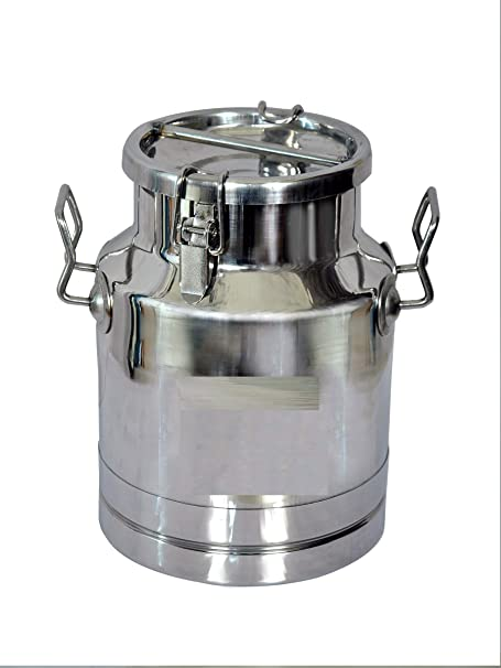 Corporate Overseas Stainless Steel Locking Milk Can  20 Litre, Silver, Steel Grade 304  Milk Pots   Topes
