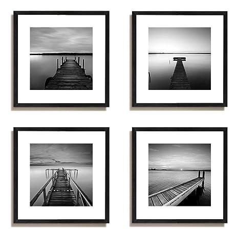 4x jetty lake rock boats house wooden sandy beach minimalist sea seascape footbridge landscape sky calm