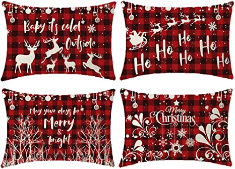 Amazon Com Niditw 4 Pack Happy Winter Baby Its Cold Outside Ho Ho Ho Deer Santa Claus Reindeer Trees Snowflakes Red Black Plaids Burlap Decorative Rectangle Pillow Case Cover Pillowcase For Party 12x20