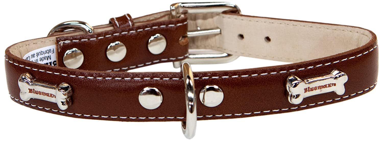 blueemax Genuine Leather Full Grain Cow Dog Collar with Bone Stud, 3 4-Inch by 16-Inch, Medium Brown