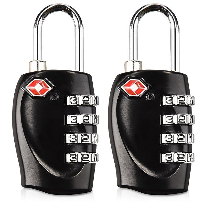 kwmobile Set de 2 candados Negros de combinación - 2X Candado para Maleta con Clave - Candados TSA para Equipaje con código de Bloqueo: Amazon.es: Equipaje