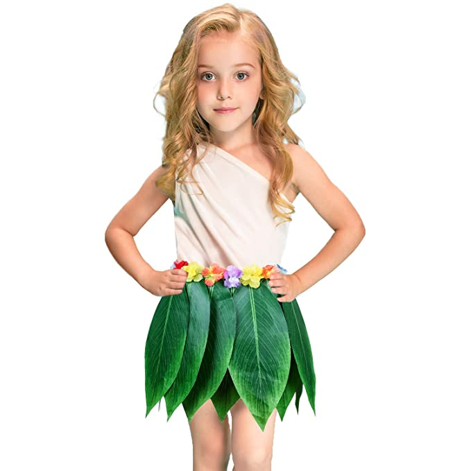 Amazon.com: Falda hawaiana de hojas de ti, falda de hierba ...