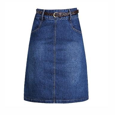 6bd80f60857517 NIAIS Jupe Mi-Longue Décontractée en Jean pour Femme A-Line Jupe ...