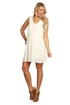 19f0556e4e238 PinkBlush Maternity Cream Basic Chiffon Maternity Dress, XL at ...