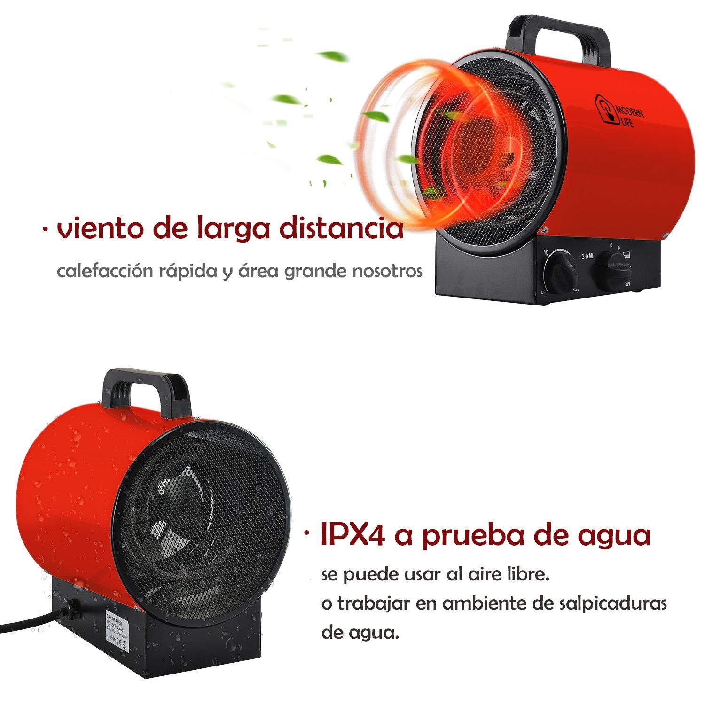 3KW calentador de aire ventilador industrial calefacción independiente 3000w impermeable para el taller garaje de la casa verde Fábrica de 3 velocidades ...