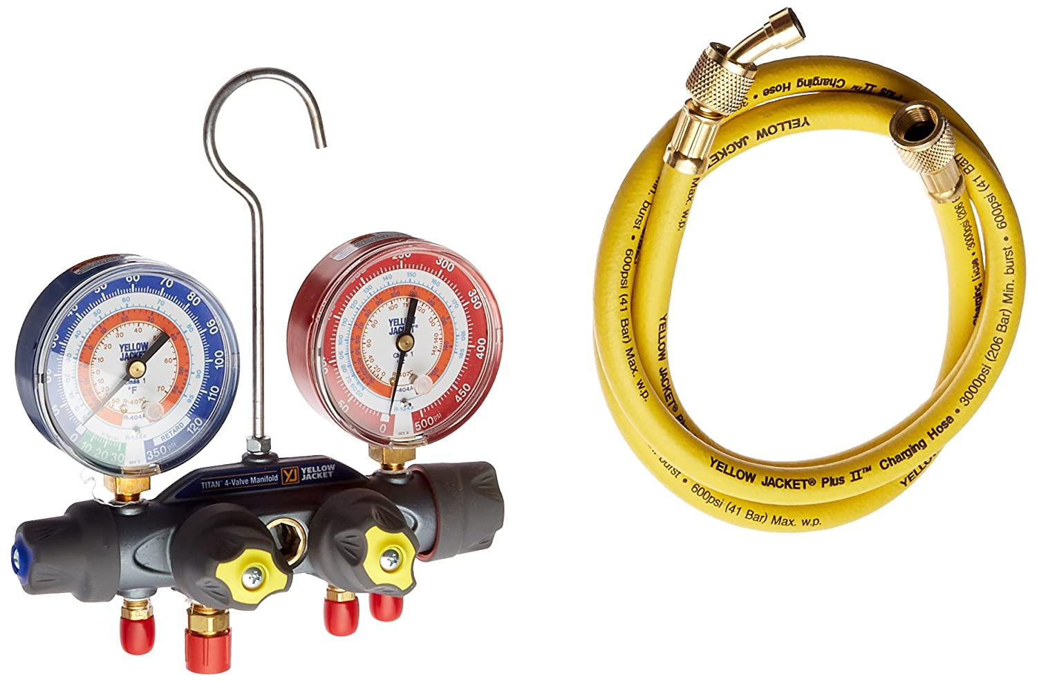 Yellow Jacket 49935 Titan 4-Valve Test and Charging Manifold degrees F, psi Scale, R-134A/404A/407C Refrigerant, Red/Blue Gauges Fotronic Corporation
