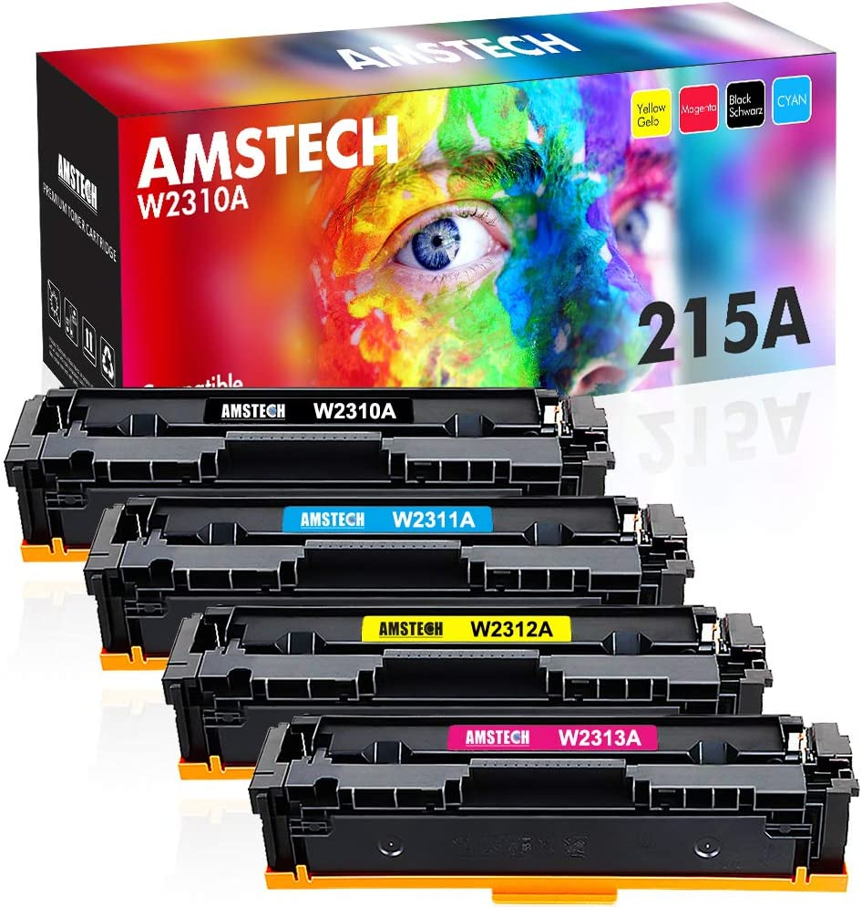Amstech Compatible Toner Cartridge Replacement for HP 215A W2310A W2311A W2312A W2313A for HP Color LaserJet Pro MFP M182nw M183fw M155 M182 M183 Printer (Black Cyan Yellow Magenta, 4-Pack)