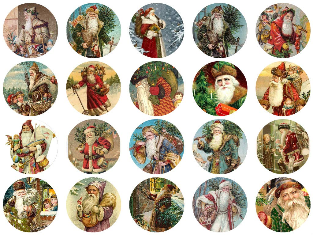 Assorted Vintage Santa Circles Christmas 1 1/2 Circles Collage Sheet #3 Paper Moon Media
