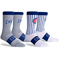 PKWY Unisex 2-Pack Cubs Home & Away Crew Socks (Large)