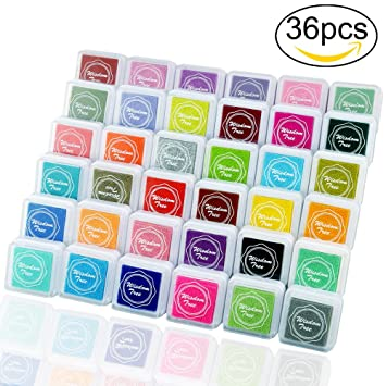 ivencase Almohadilla Tampón, 36 colores disponibles Almohadilla Tinta dedos para para Madera Papel Tela para