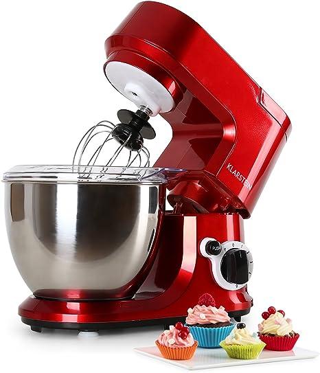 Klarstein Carina Rossa - Robot de cocina multifunción, Batidora, Amasadora, 800 W, 4 L, Batido planetario, 6 niveles de velocidad, Recipiente de acero inoxidable, Bloqueo de seguridad, Rojo: Amazon.es: Hogar