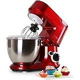 Klarstein Carina Rossa Robot de cuisine mélangeur Pétrin 800 W 4 litres Sytème mélangeur planétaire 6 vitesses Bol en acier inoxydable Protection anti-éclaboussures rouge