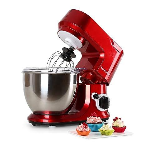 Klarstein Carina Rossa - Robot de cocina multifunción , Batidora , Amasadora , 800 W , 4 L , Batido planetario , 6 niveles de velocidad , Recipiente ...
