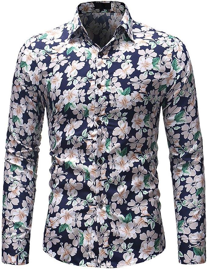 Camisas de Vestir para Hombre Camisa de Manga Larga Cuello ...