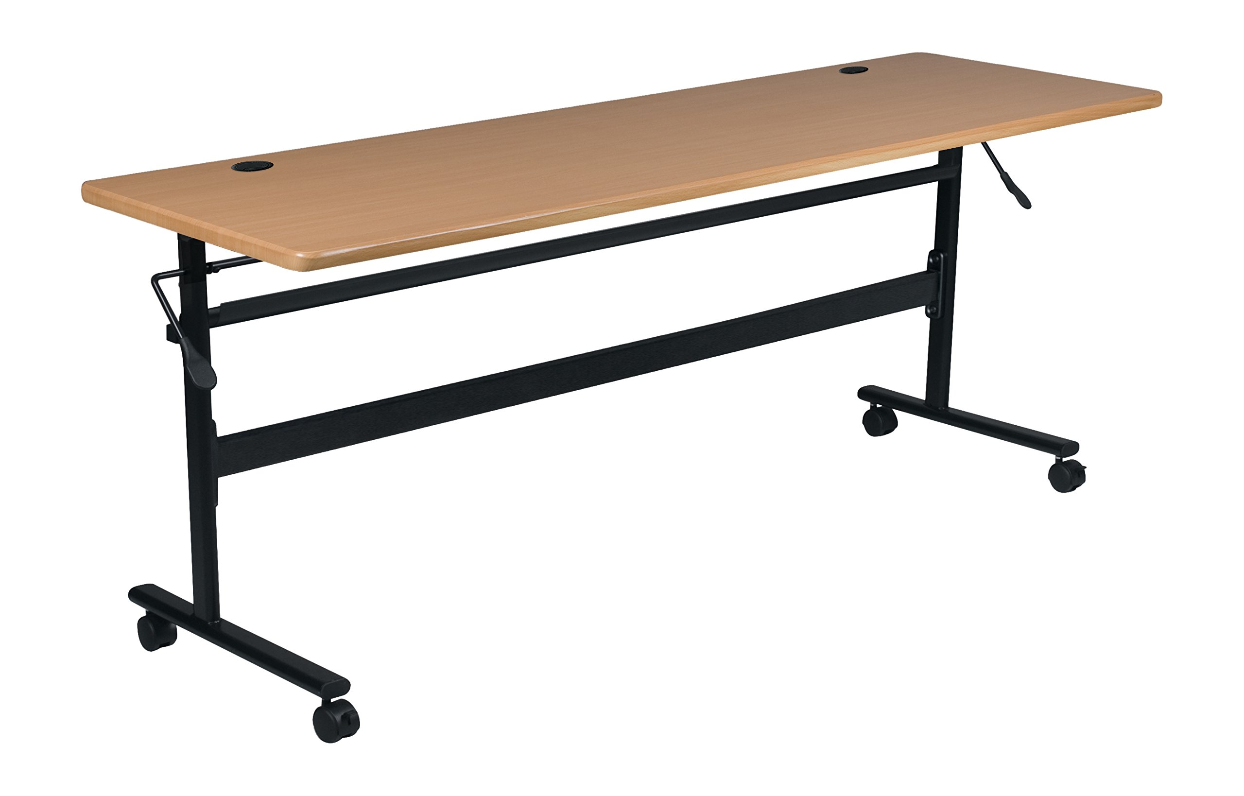 MooreCo Essentials Flipper Training Table 60x24 Teak Top Black Base (90093) by MooreCo (Image #1)