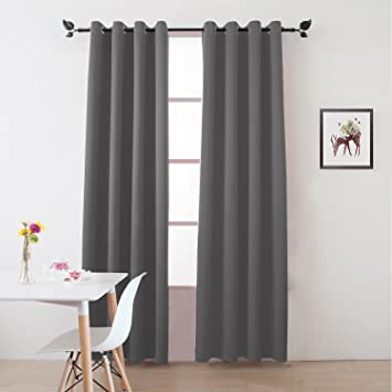 Floweroom Blackout Curtains Thermal Insulated Draperies With Grommet For Bedroom Light Grey 52 By 96 Inch 2 Panels