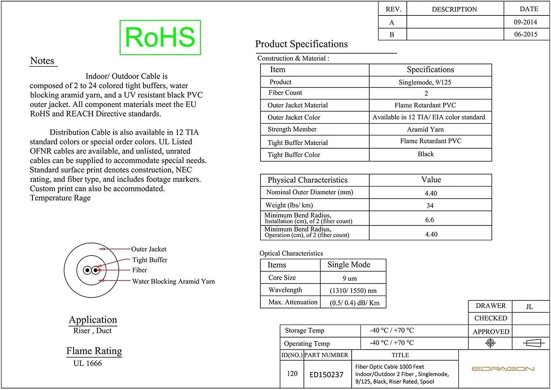 9//125 Black Spool Riser Rated Singlemode Fiber Optic Cable 1000 Feet Indoor//Outdoor 2 Fiber