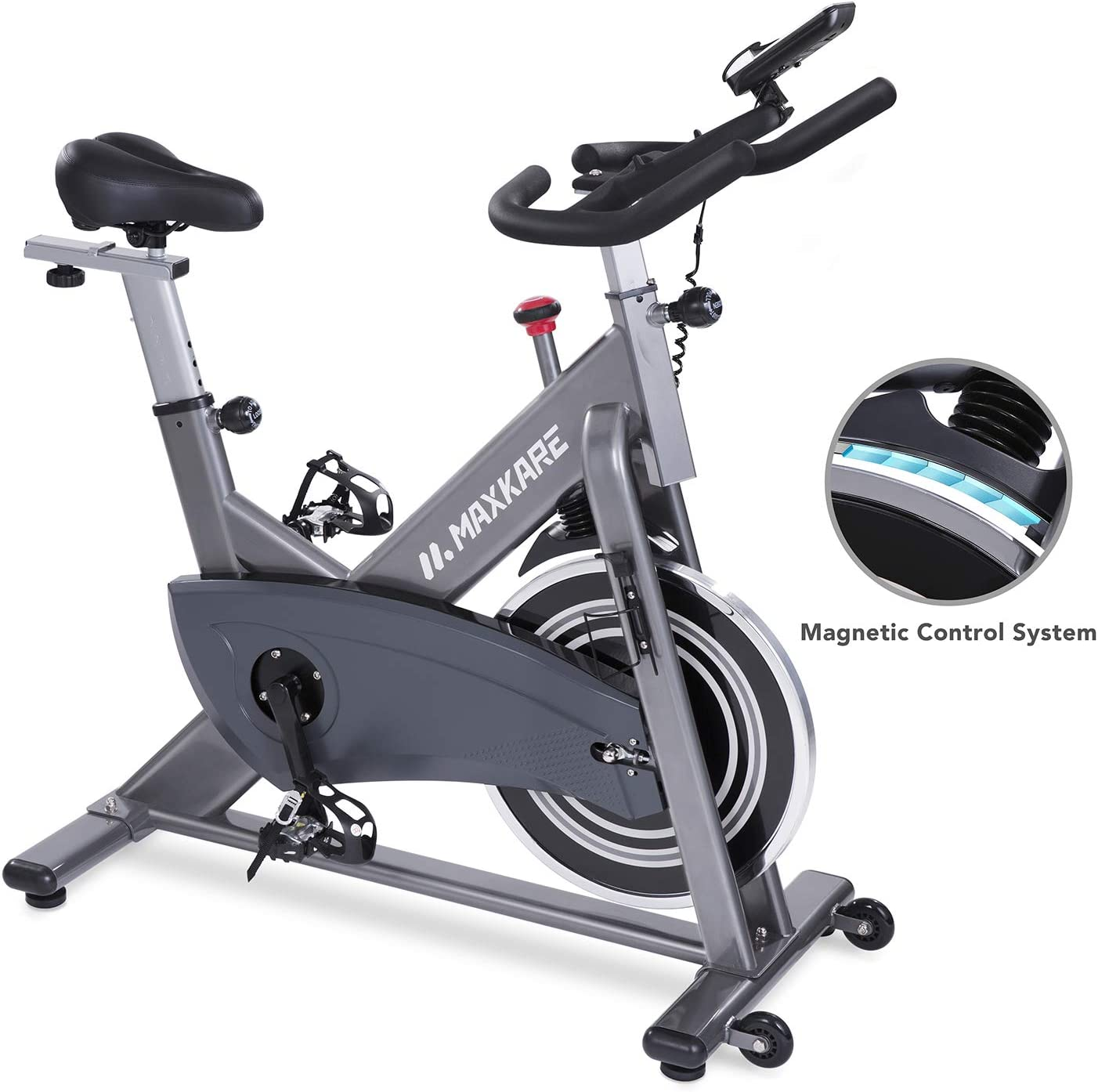 Maxkare Magnetic Exercise Bike Belt Drive Stationary Indoor Cycling Bike with High Weight Capacity Adjustable Magnetic Resistance w LCD Monitor Tablet Holder Gray