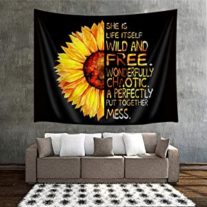80X60, Large Size Sunflower Wall Tapestry Natural Floral Print Oil Painting Artwork With Half Sunflower Half Motivational Words Tapestry Wall Hanging Home Decor for Living Room Bedroom Wall Blanket