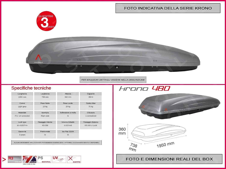 Proposteonline portabagagli Box Tetto Auto 195 x 73 x 36 cm per Renault Talisman Sporter 2016  con Barre Portapacchi portatutto yk66ge