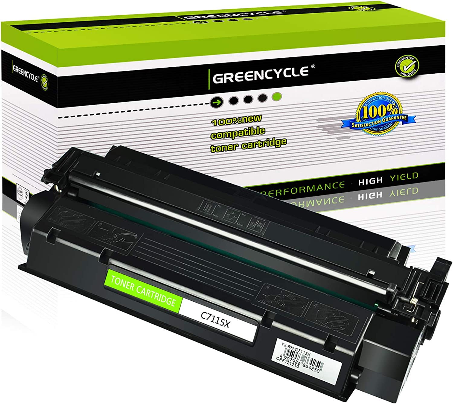 GREENCYCLE 1 PK Compatible C7115X 15X Black Laserjet Toner Cartridge Replacement for HP Laserjet 1000 1200 1220 3300 3310 3320 3330 3380 Series Printer