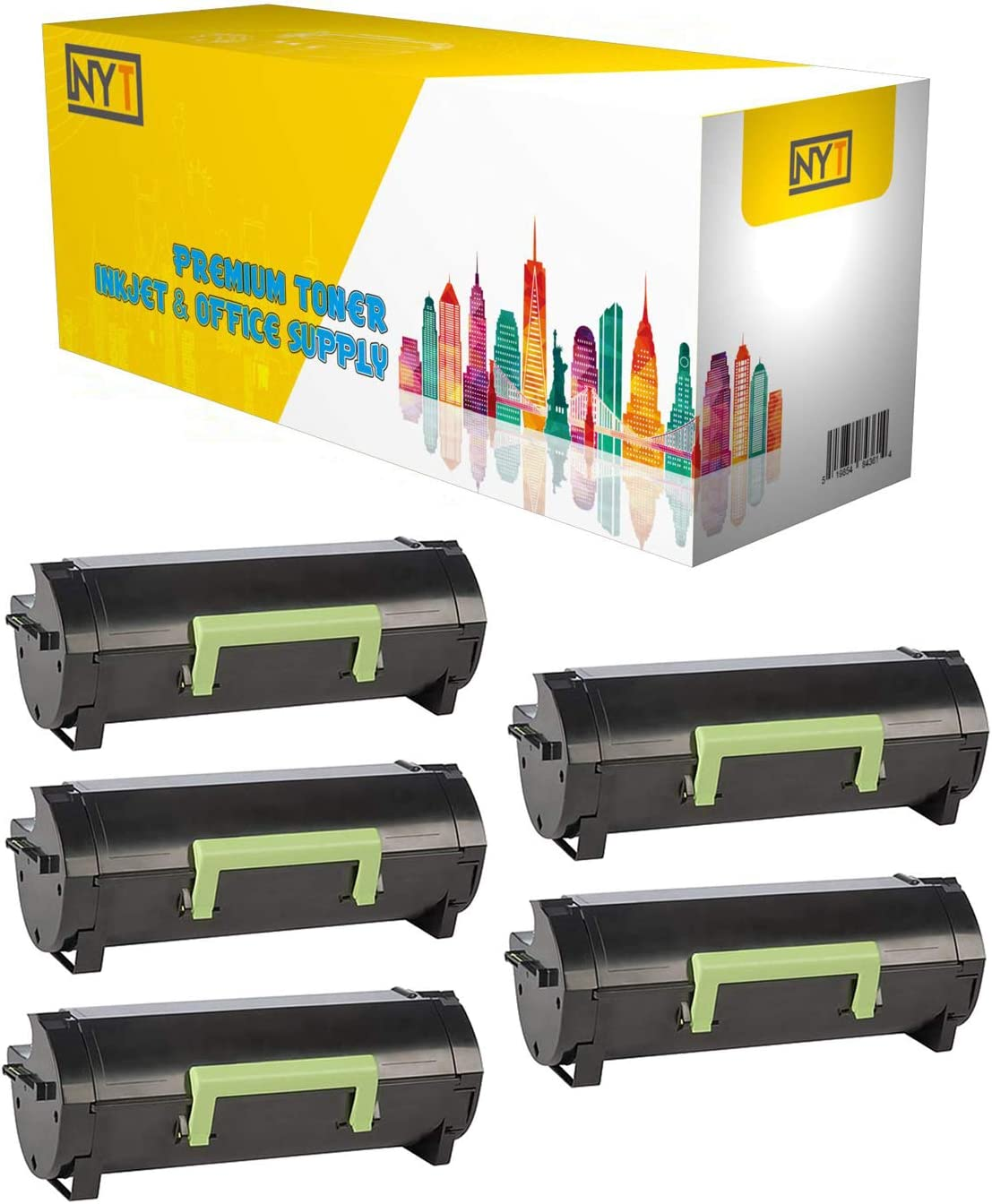 NYT Remanufactured Toner Cartridge Replacement for 600 600G 601 60F1000 60F100G for Lexmark MX310 Made in USA. MX511 MX610 Black, 5-Pack MX510 MX611 MX410