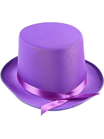 Amazon.com  Adults Tap Dancer Magician Purple Fabric Top Hat Costume  Accessory  Clothing f6ae5a5e2510
